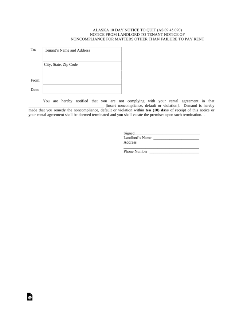 alaska 10 day notice to quit non compliance eforms free