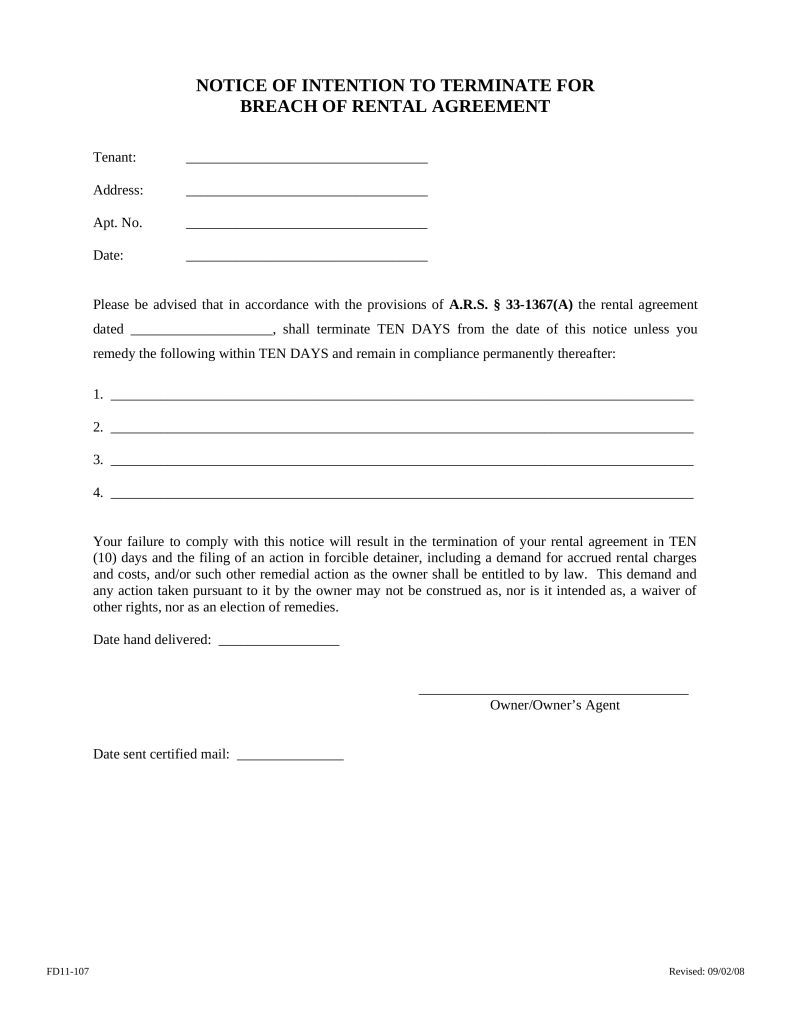 Arizona 10-Day Notice to Quit Form | Non-Compliance | eForms ...