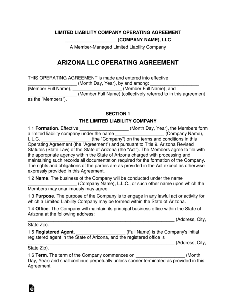 arizona operating agreement Free Arizona Multi Member LLC Operating Agreement Form - Word | PDF ...