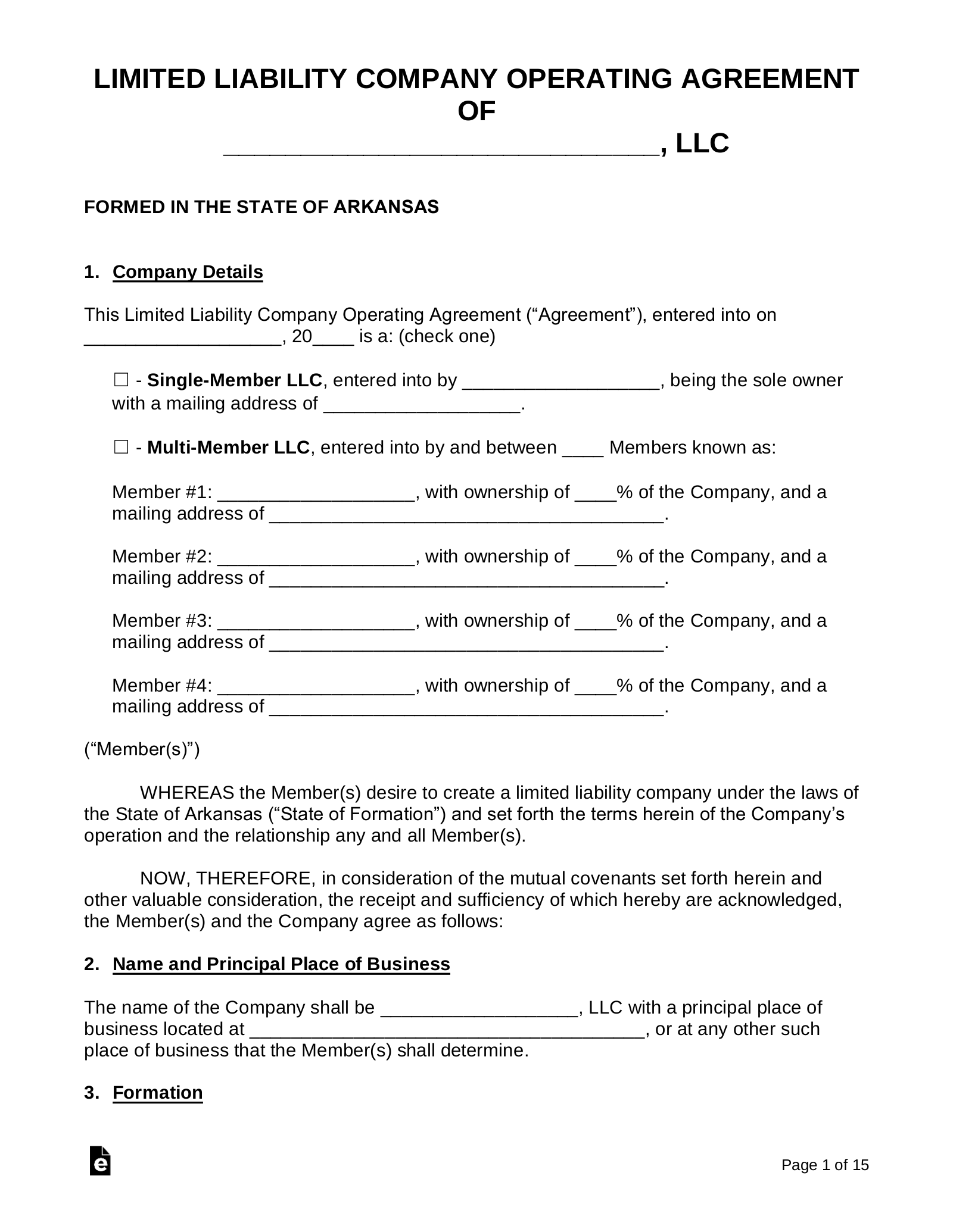Free Arkansas Llc Operating Agreement Templates Pdf Word