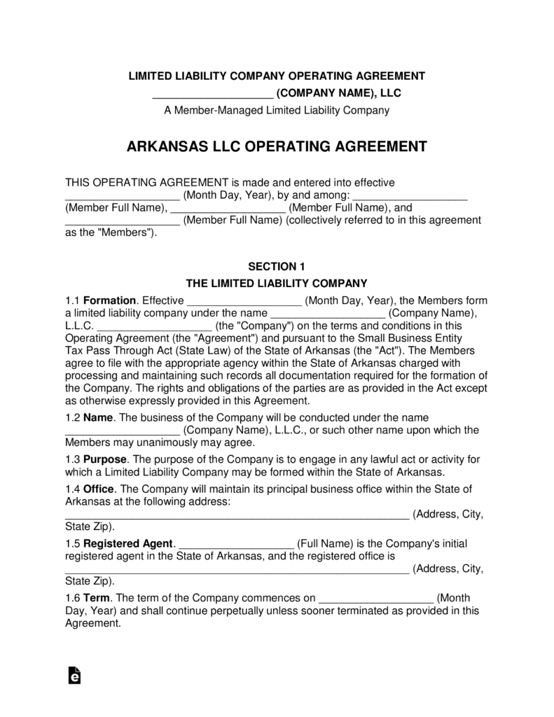 operating agreement llc arkansas  Free Arkansas Multi Member LLC Operating Agreement Form - Word | PDF ...