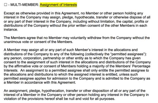 Assignment of llc interest