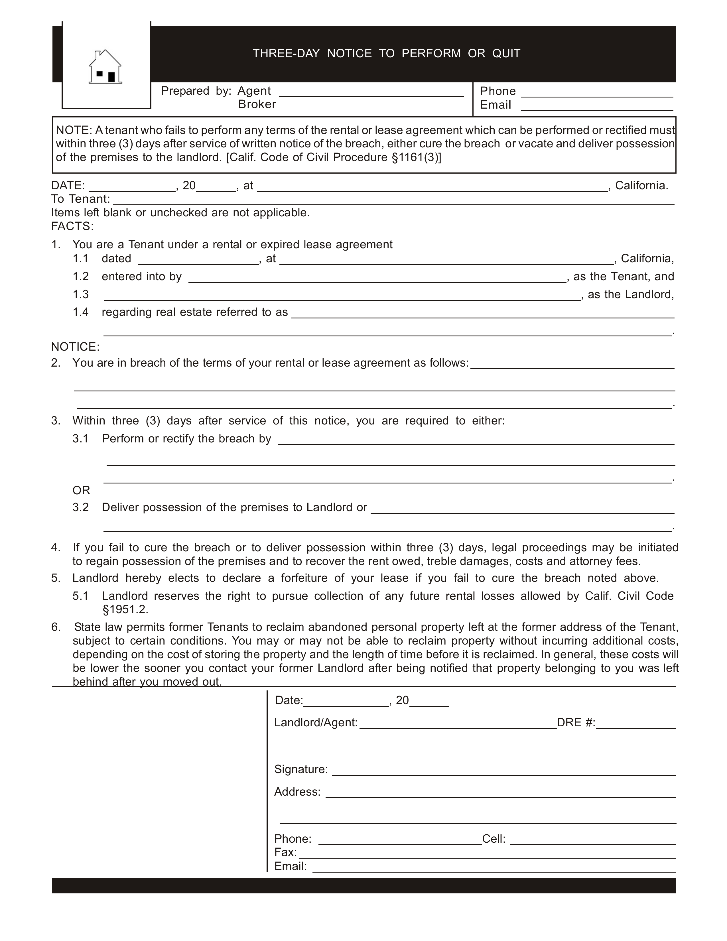 California 3 Day Notice To Quit Form