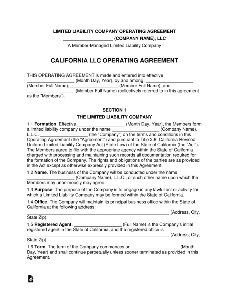 Free California Multi Member LLC Operating Agreement Form