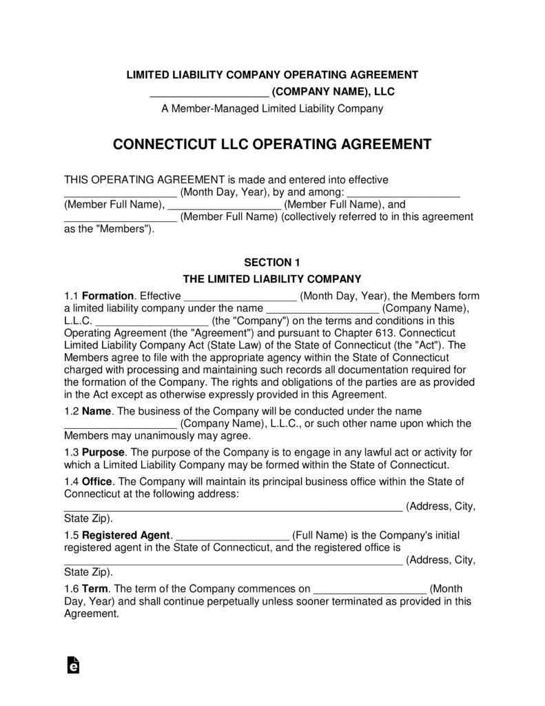 Connecticut Multi Member Llc Operating Agreement Form Eforms