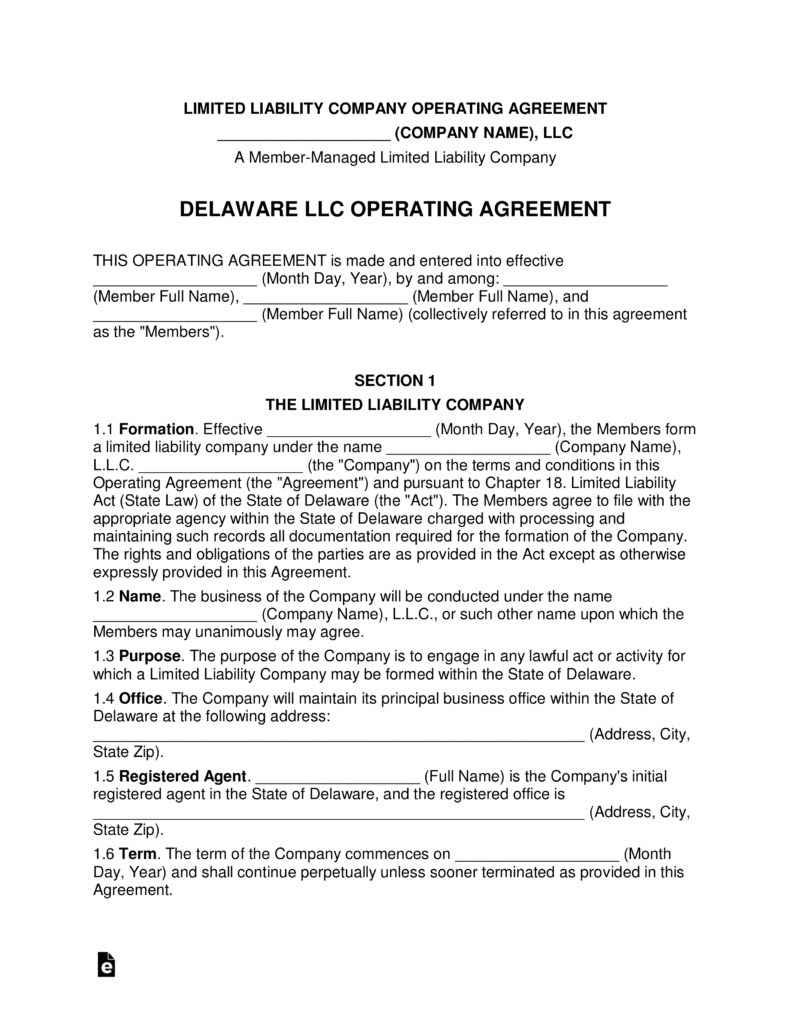 Delaware Multi-Member LLC Operating Agreement Form | eForms – Free ...