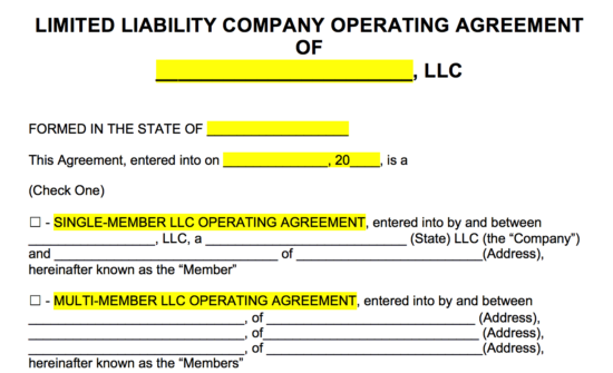 Free Llc Operating Agreement Templates Pdf Word Eforms