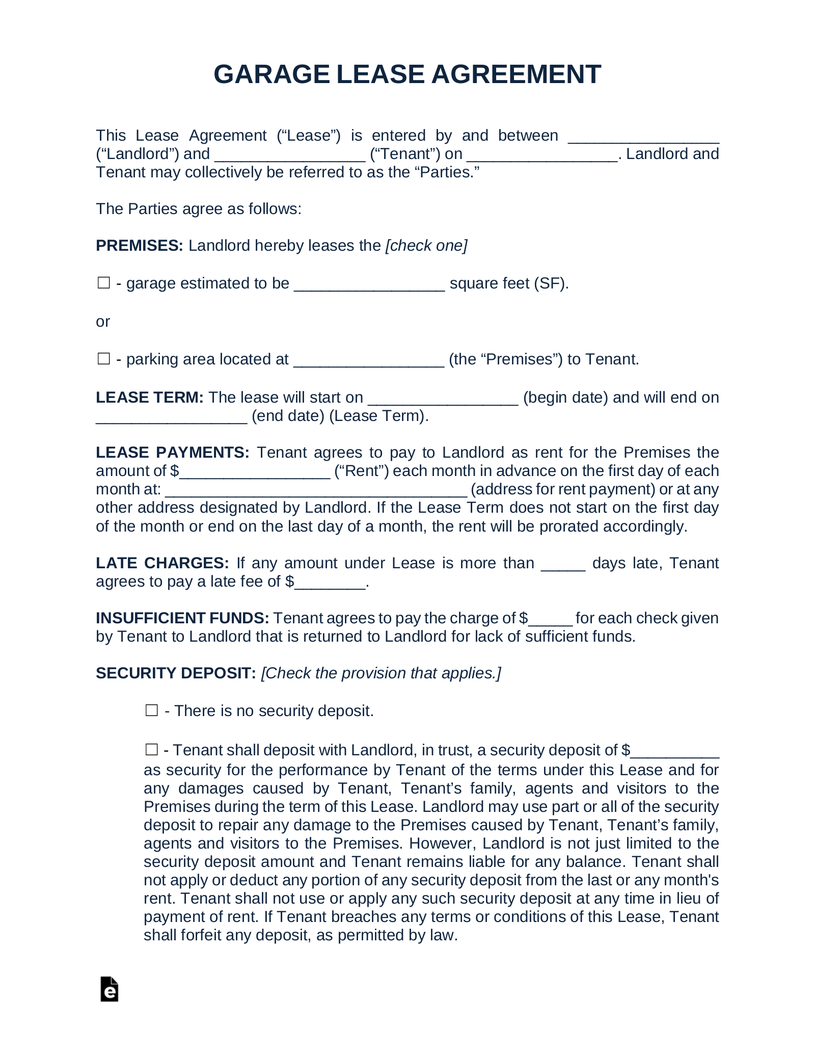 Free Garage Parking Rental Lease Agreement Template Pdf