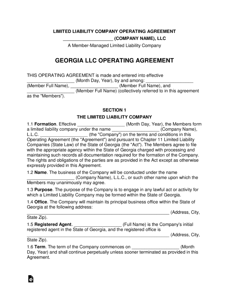 Free Georgia Multimember Llc Operating Agreement Form Word Pdf Eforms €�  Free Fillable Forms