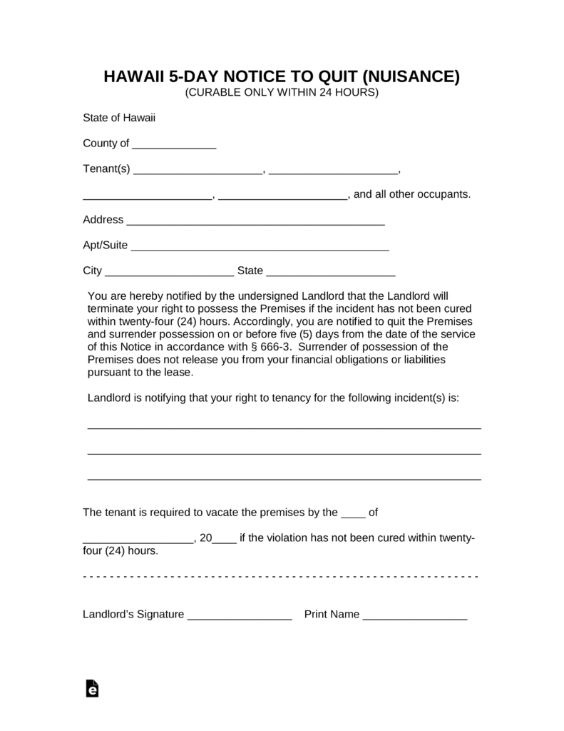 Hawaii 5 day 24 hours to cure notice to quit form nuisance hawaii 5 day 24 hours to cure notice to quit form nuisance eforms free fillable forms thecheapjerseys Gallery