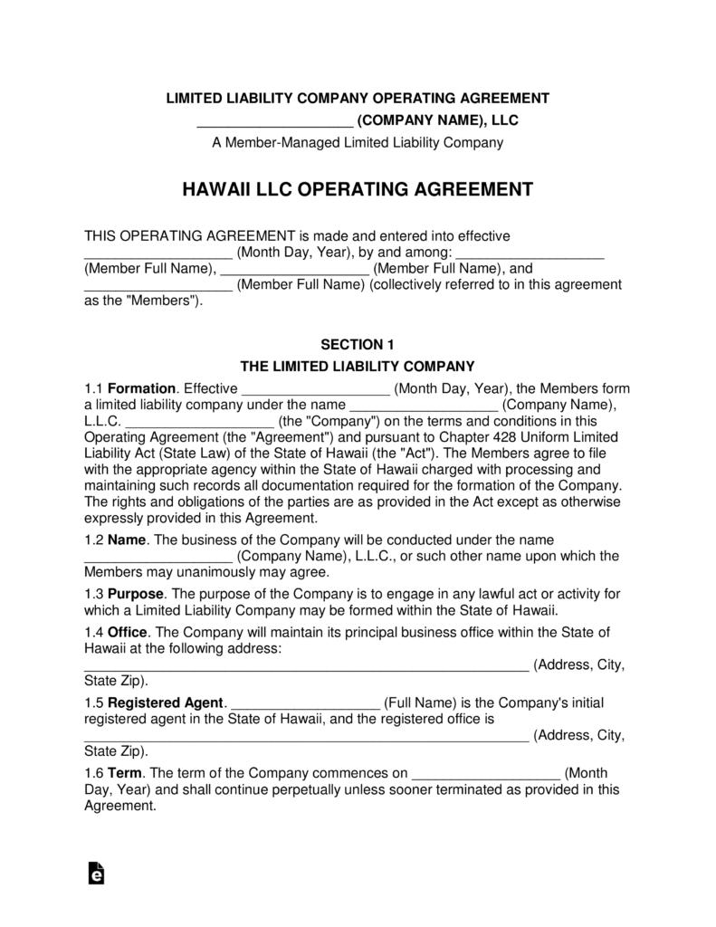 hawaii multi member llc operating agreement form eforms free fillable forms. Black Bedroom Furniture Sets. Home Design Ideas