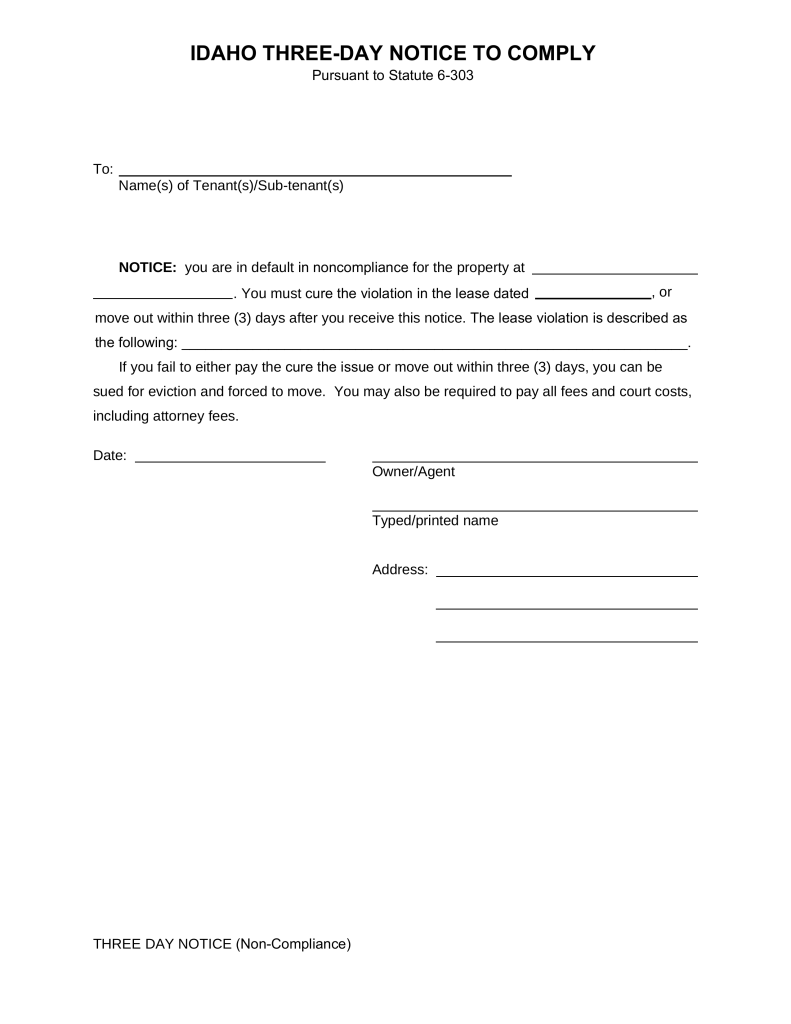 Idaho 3 Day Notice to Quit Form NonCompliance – Copy of an Eviction Notice