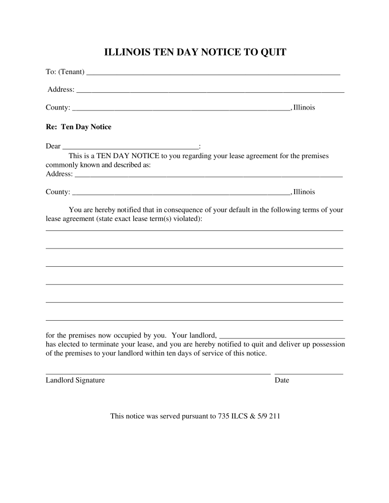 Illinois 10Day Notice to Quit Form NonCompliance – Free Printable Eviction Notice Forms