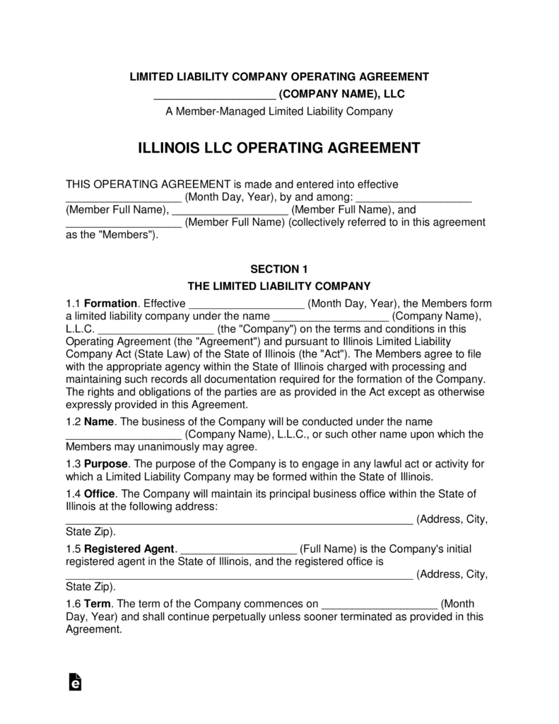 Illinois Multi Member Llc Operating Agreement Form Eforms Free