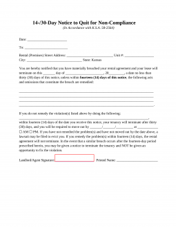 Bill Of Sale Kansas >> Kansas 14-Day Notice to Quit Form | Non-Compliance ...