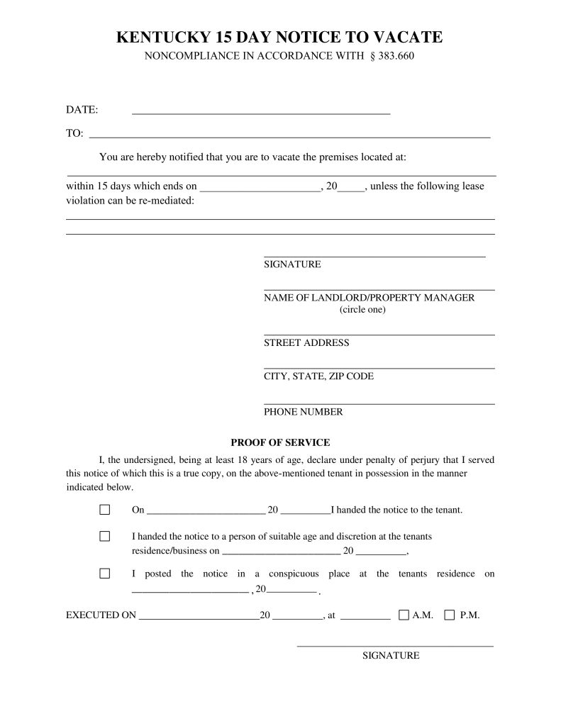 Kentucky 15 Day Notice To Quit Form Non Compliance Eforms Free