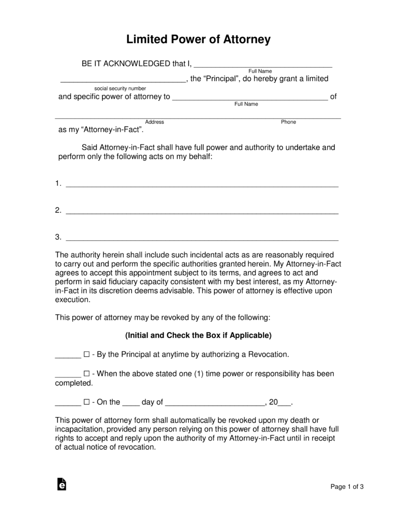 Free Limited Special Power Of Attorney Forms Pdf Word Eforms