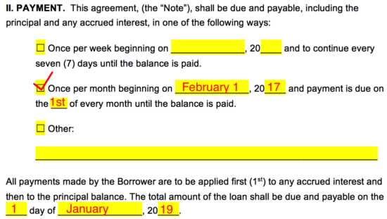 ... To Pay The Lender On The 1st Of Every Month While The Total Amount  Shall Be Paid By January 1st, 2019 Giving The Borrower 2 Years To Pay Off  The Loan.  Free Simple Loan Agreement