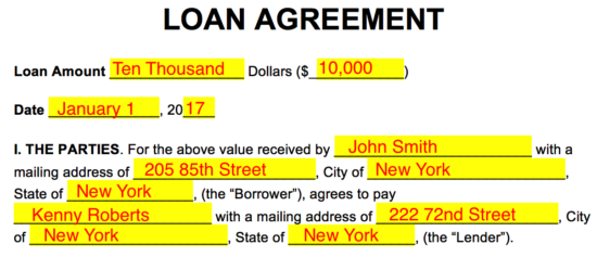 in this example the borrower is located in the state of new york and he is asking to borrow 10000 from the lender - Sample Lending Contract