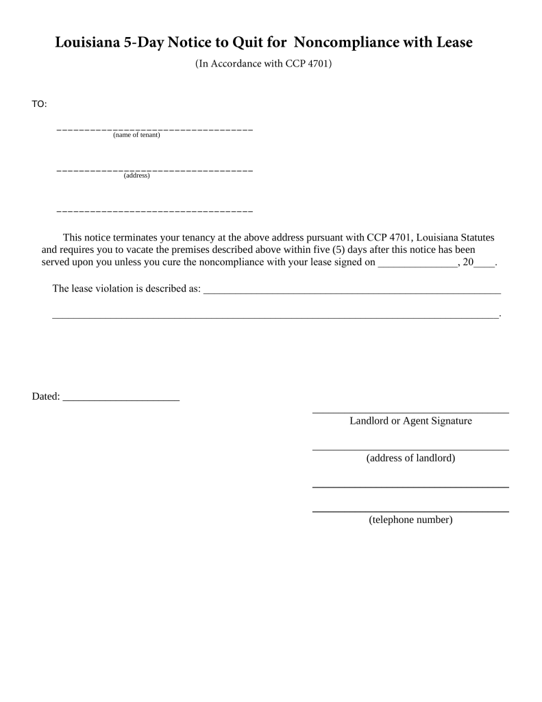 Free Louisiana 5-Day Notice to Quit Form | Non-Compliance - PDF ...