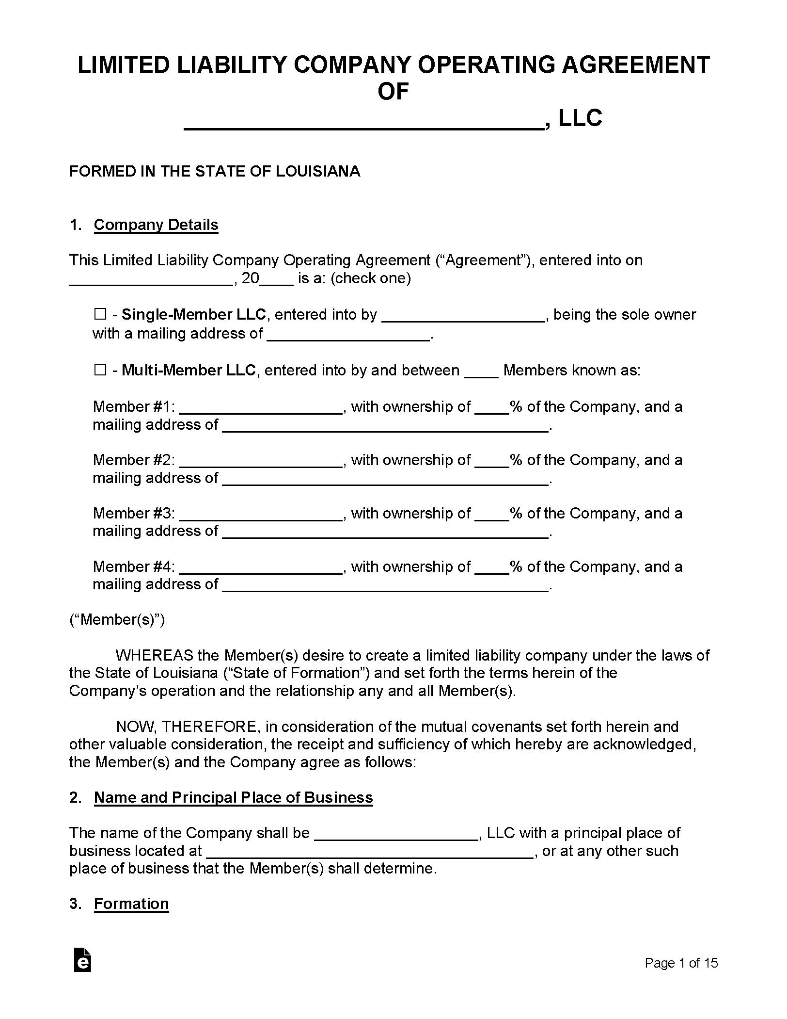 Free Louisiana Llc Operating Agreement Templates Pdf
