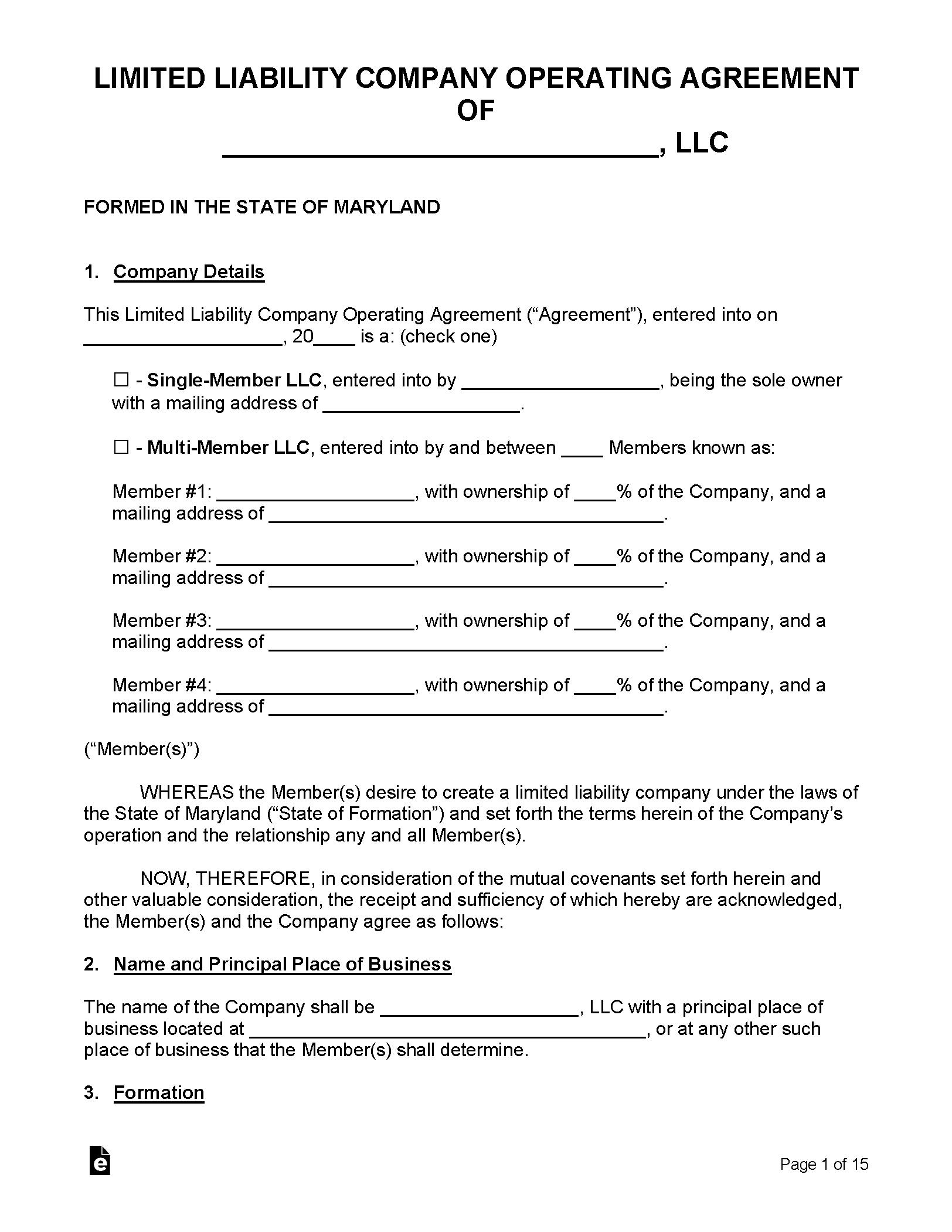Free Maryland Llc Operating Agreement Templates Pdf Word