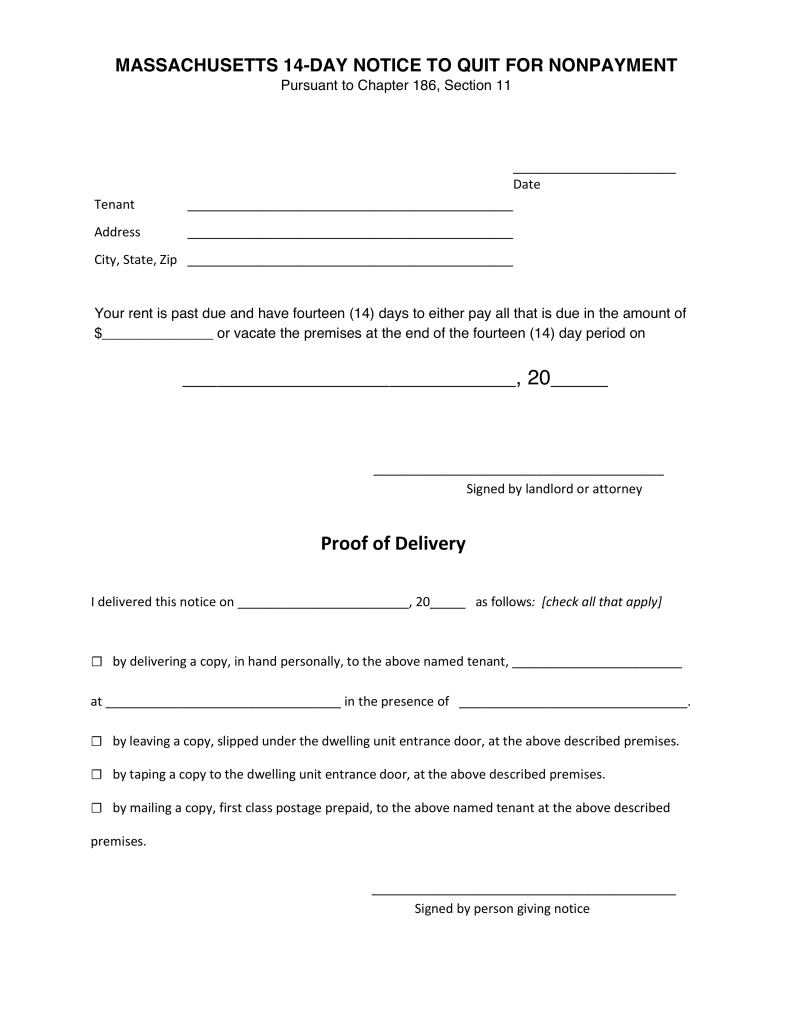 eviction notice template nc - massachusetts 14 day notice to quit non payment eforms