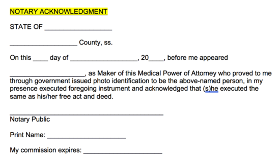 Medical Poa Notary Acknowledgment