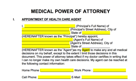 Free Medical Power Of Attorney Forms Living Wills Pdf Word