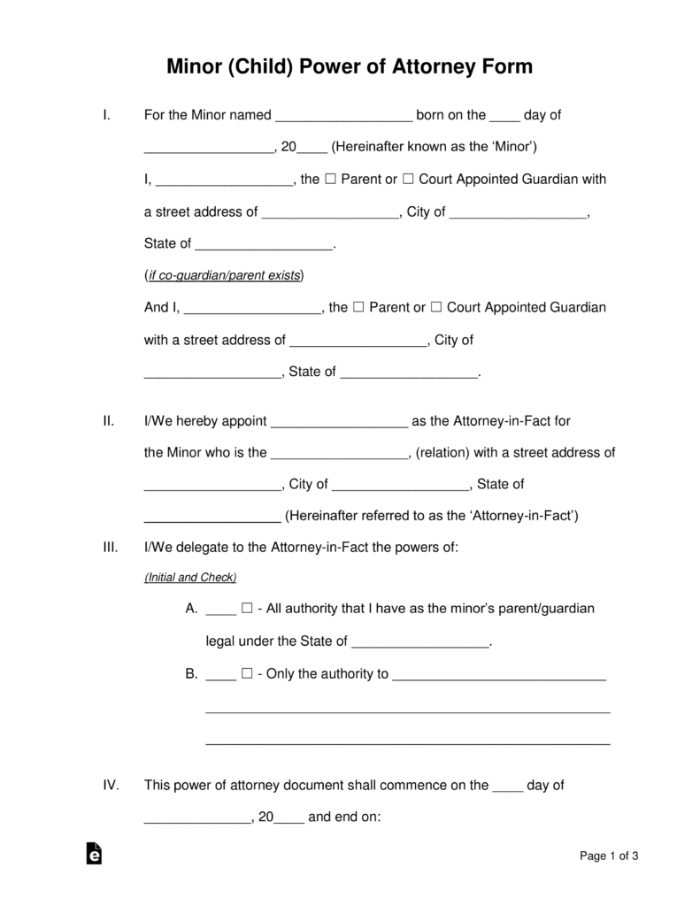 power of attorney for minor child Free Minor (Child) Power of Attorney Forms - PDF | Word | eForms ...