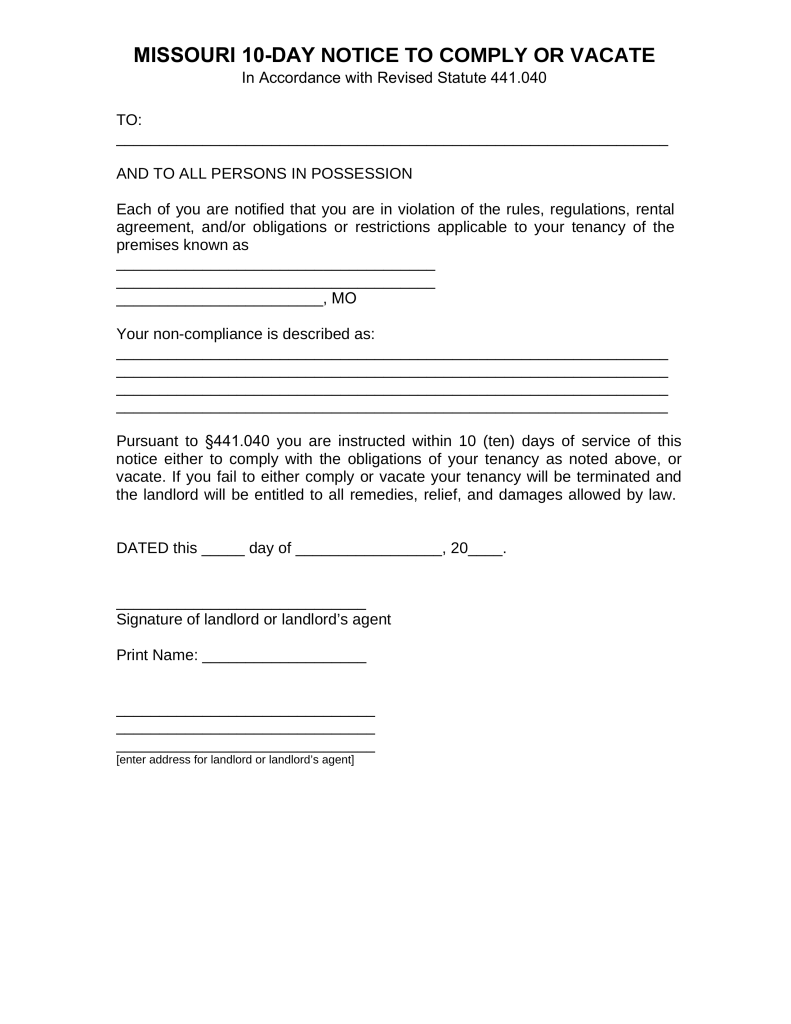 Free Missouri 10-Day Notice to Quit Form | Non-Compliance - PDF ...