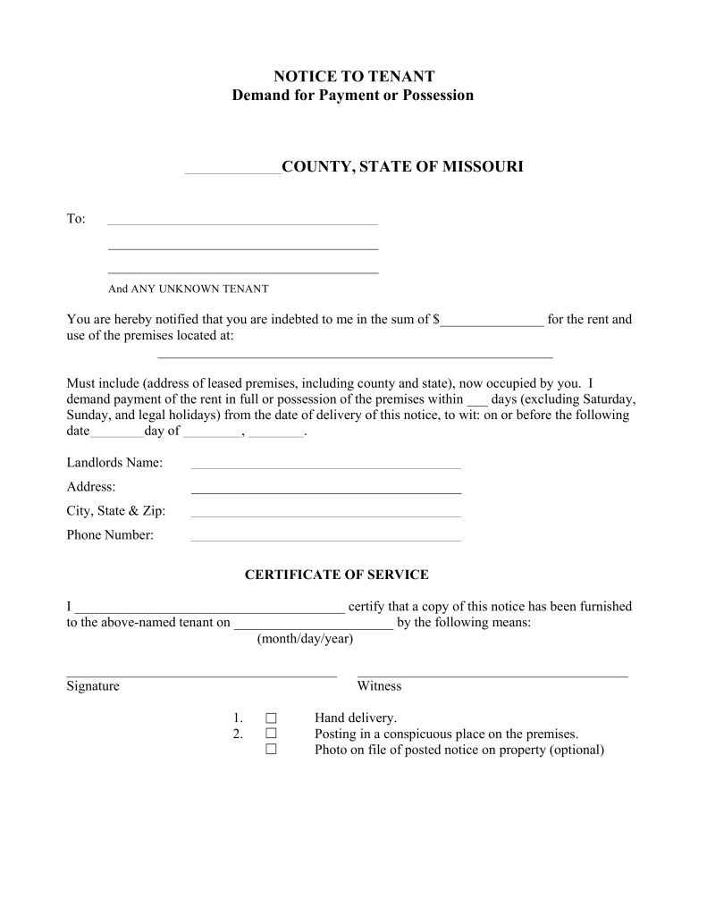 missouri notice to quit form non payment of rent eforms free