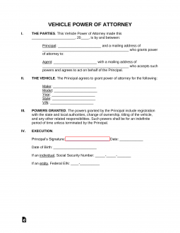 Free Motor Vehicle Power of Attorney Forms - PDF | Word