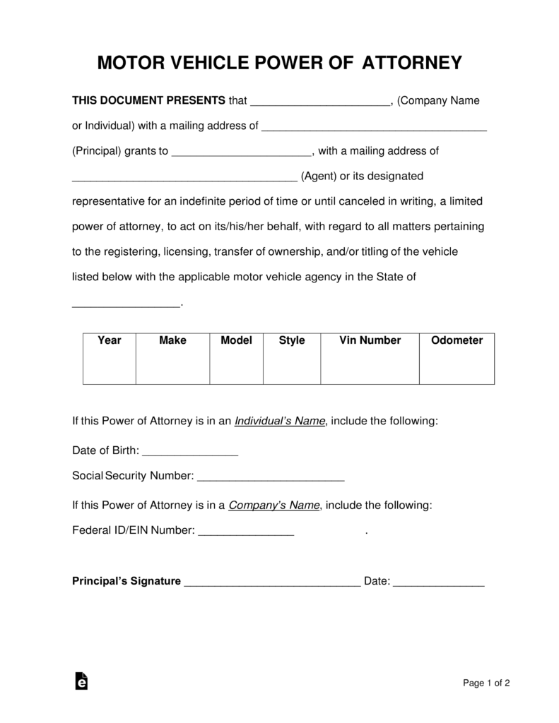 free motor vehicle power of attorney forms