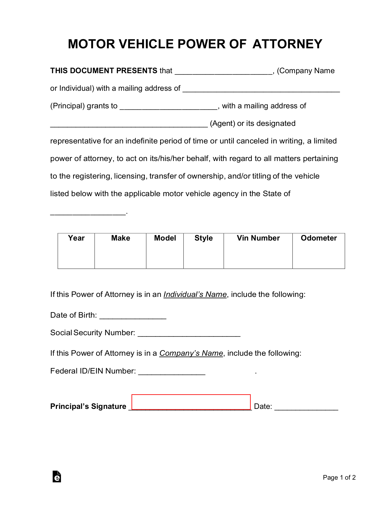 Free Motor Vehicle Power of Attorney Forms - PDF | Word ...