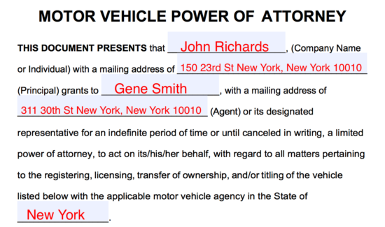 how to give power of attorney for a vehicle