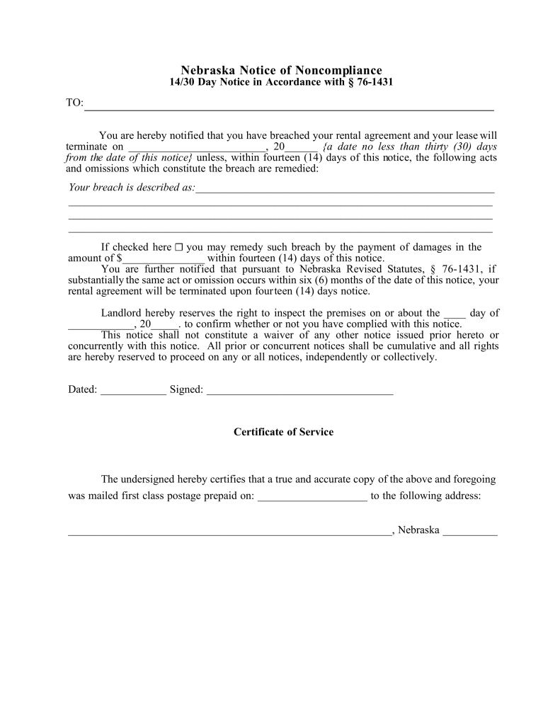 Nebraska 1430 Day Notice to Quit Form NonCompliance – 30 Eviction Notice Form