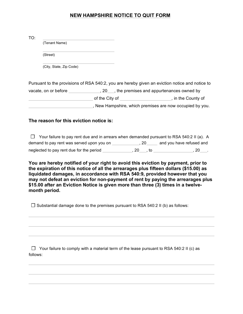 Free New Hampshire Notice to Quit Form | FOR MOST TYPES - PDF ...