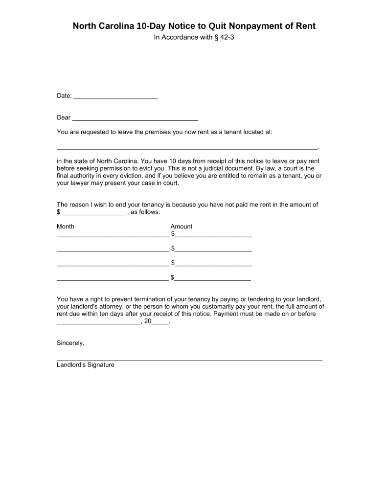 Free north carolina 10 day notice to quit form non for Notice to pay rent or quit template