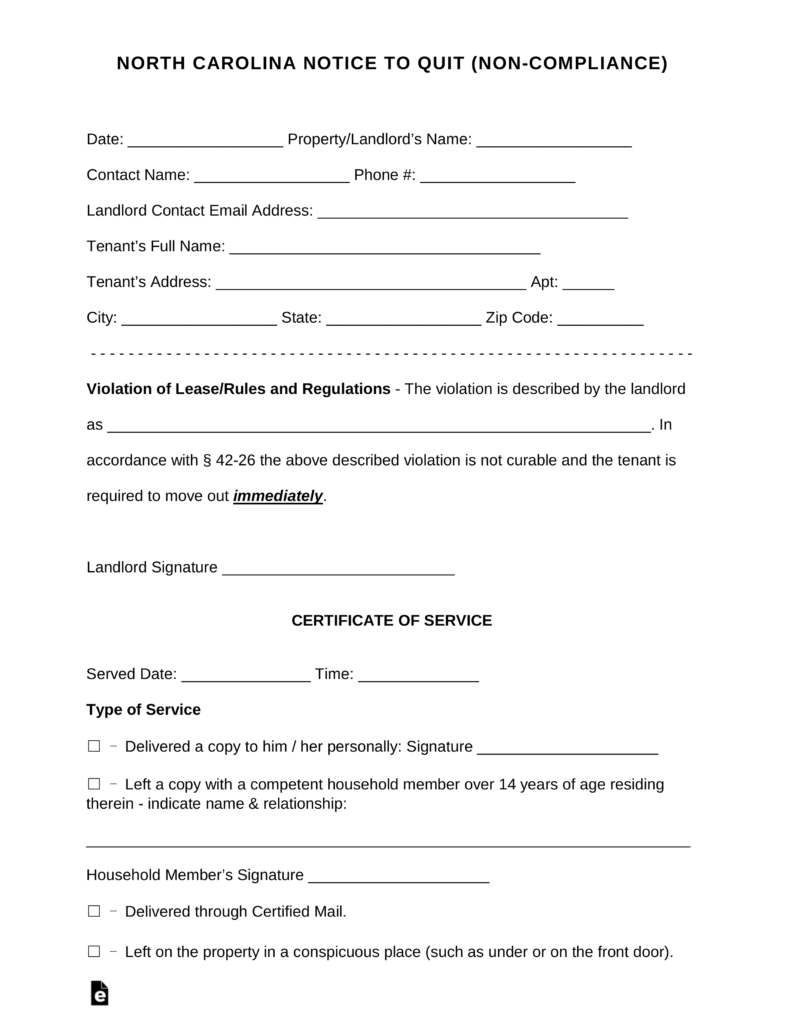 North Carolina Immediate Notice To Quit | Non Compliance | EForms U2013 Free  Fillable Forms