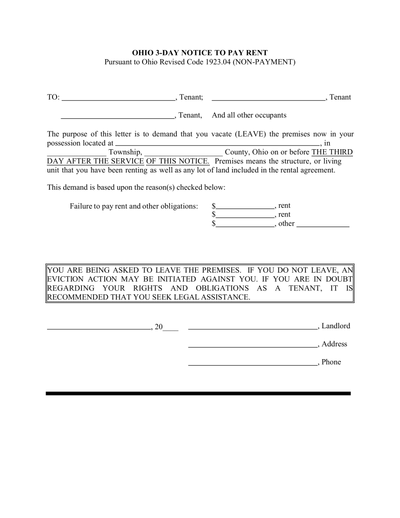 Free ohio 3 day notice to quit form non payment pdf for Notice to pay rent or quit template