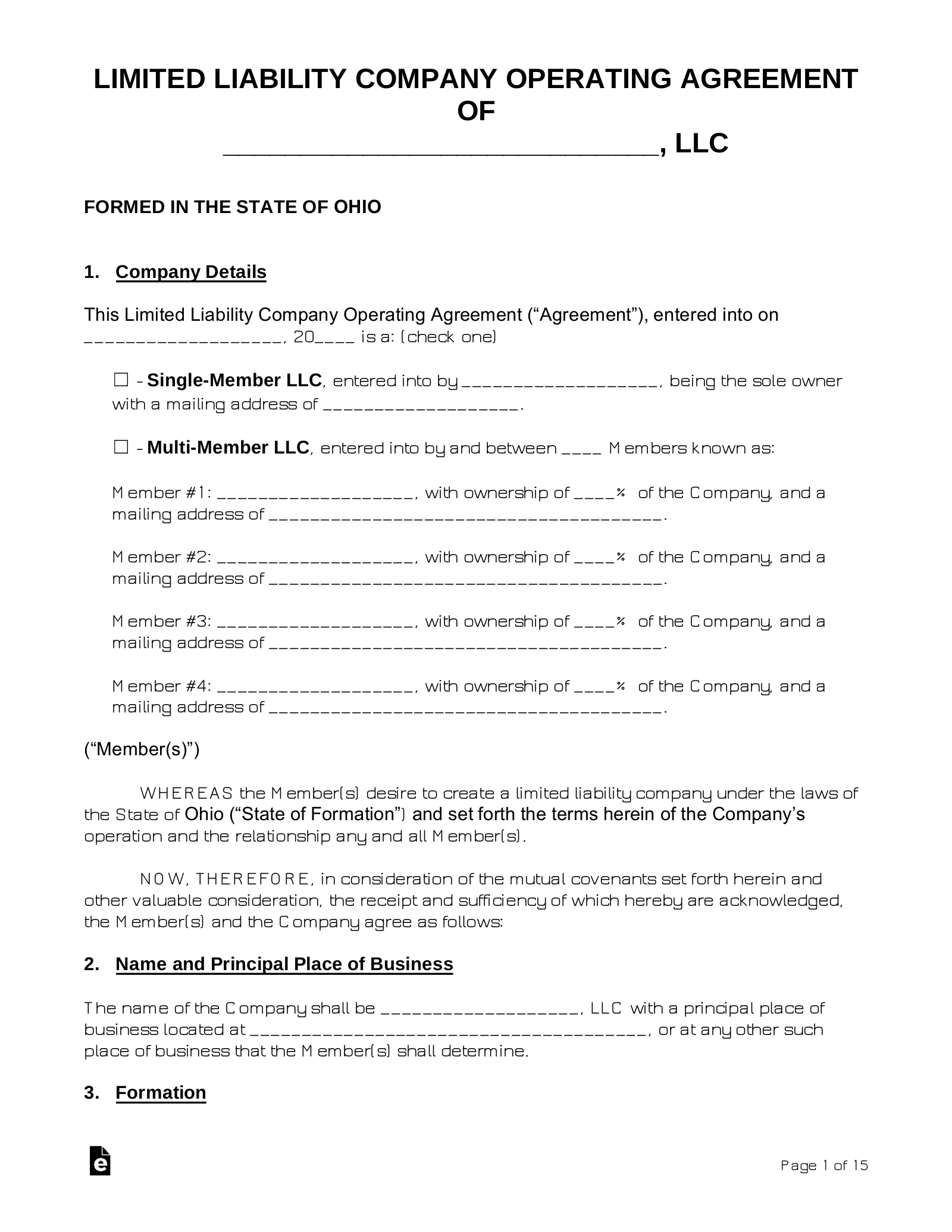 Free Ohio Llc Operating Agreement Templates Pdf Word