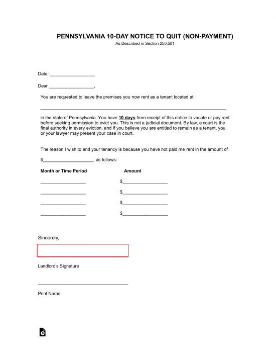 Example Of Eviction Letter from eforms.com
