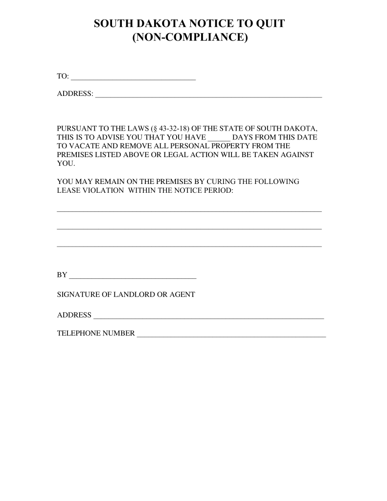 Bill Of Sale Example >> South Dakota Notice to Quit Form | Non-Compliance | eForms ...