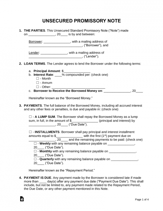 free promissory note templates