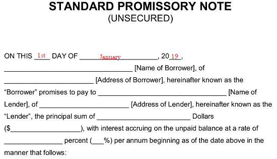 Free Unsecured Promissory Note Template Word Pdf
