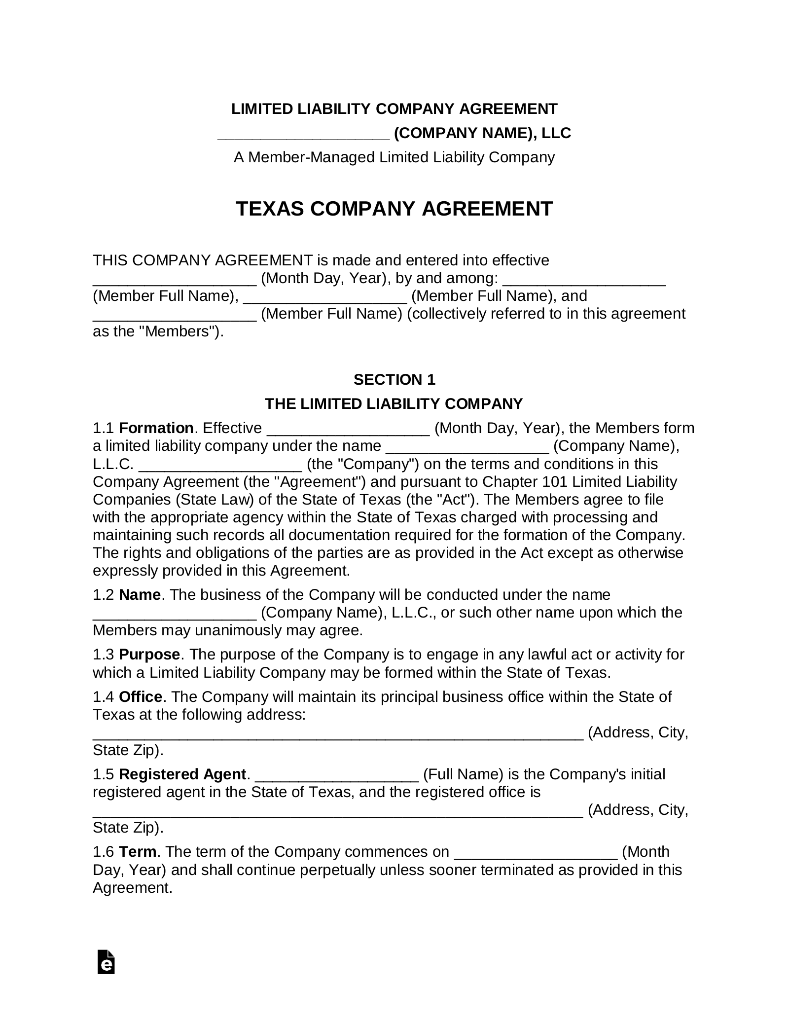 Texas Multi Member Company Agreement Form Eforms Free