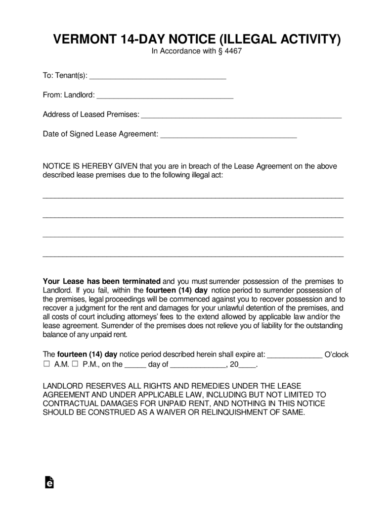 Vermont 14-Day Notice to Quit Form | Criminal Activity | eForms ...