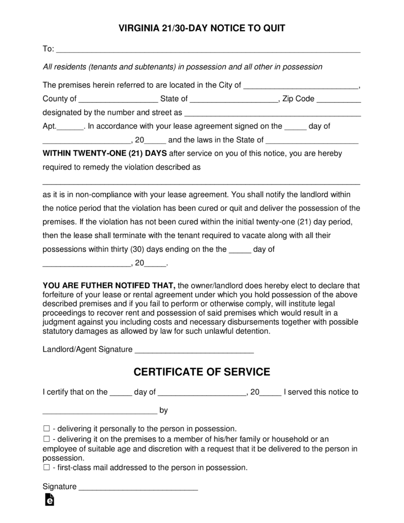 Virginia 2130 Day Notice to Quit Form NonCompliance – 30 Eviction Notice Form