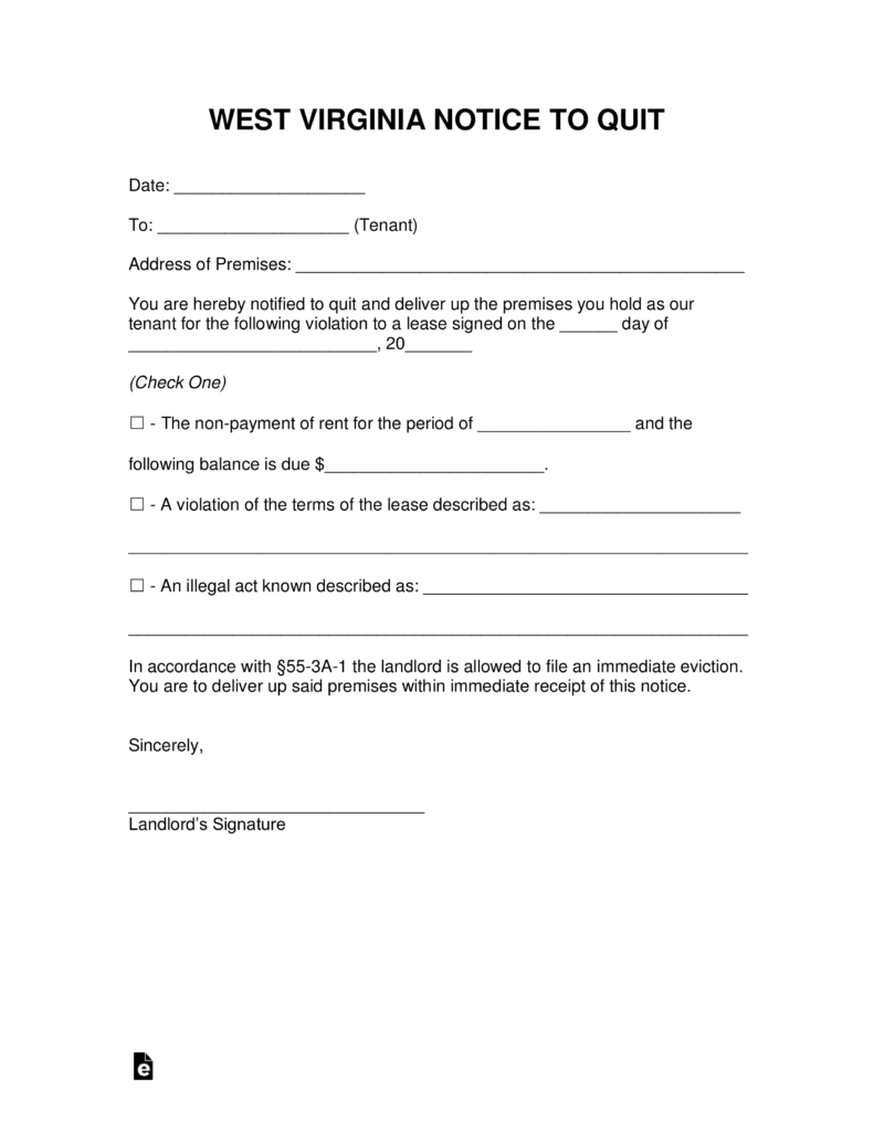 Free West Virginia Eviction Notice Forms – Eviction Notice Template Word